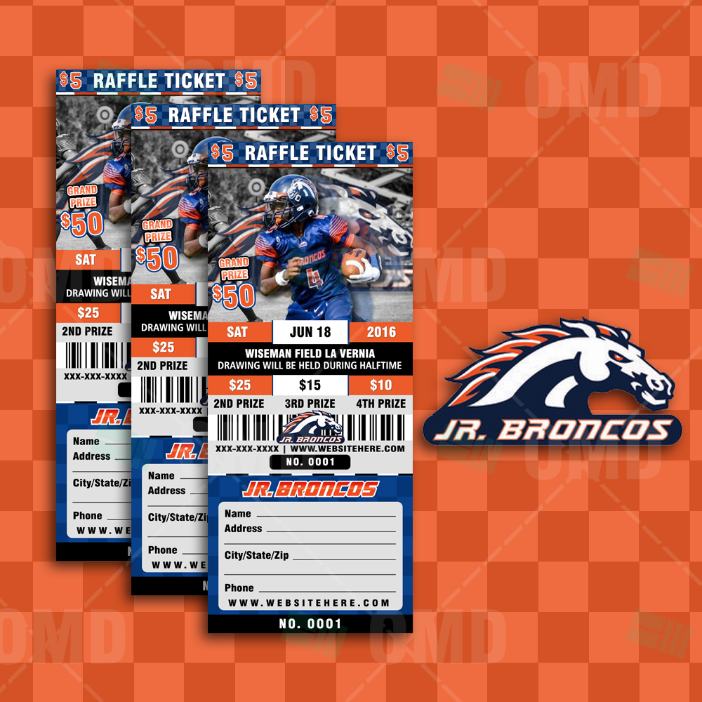sports invites halftime football raffle ticket style template raffle ticket design 4 jr broncos proof product 1