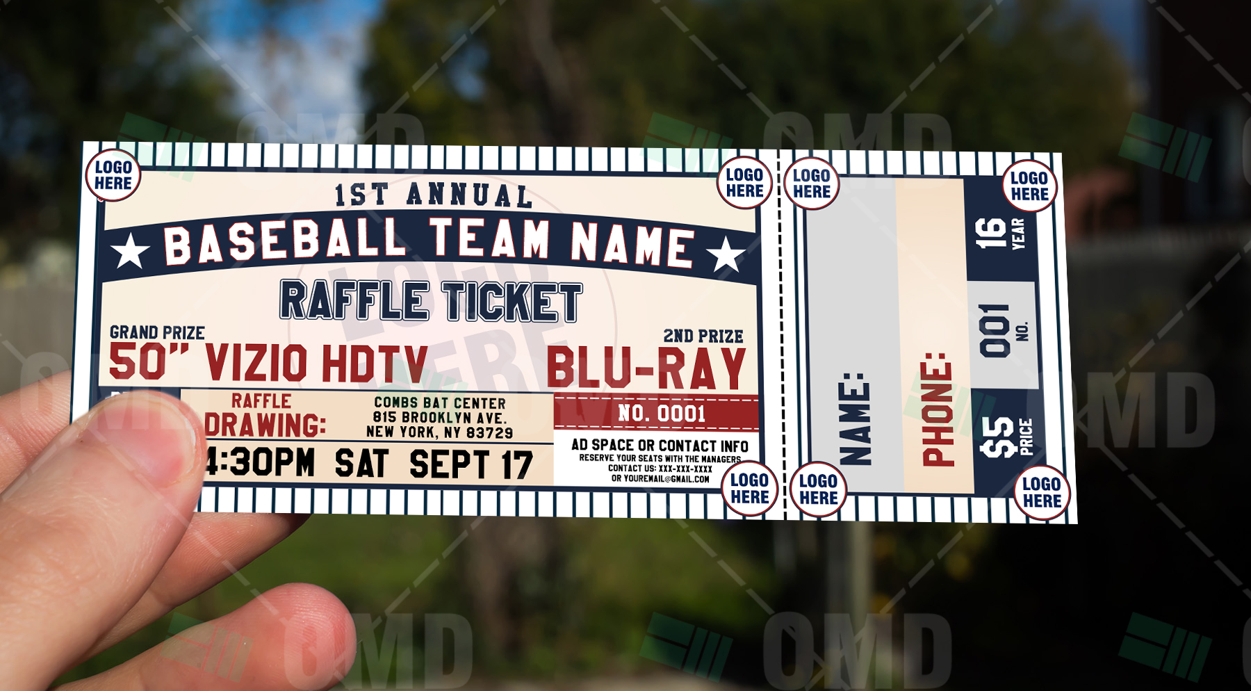 Sports Invites Classic Baseball Raffle Ticket Template – Sports Ticket Template