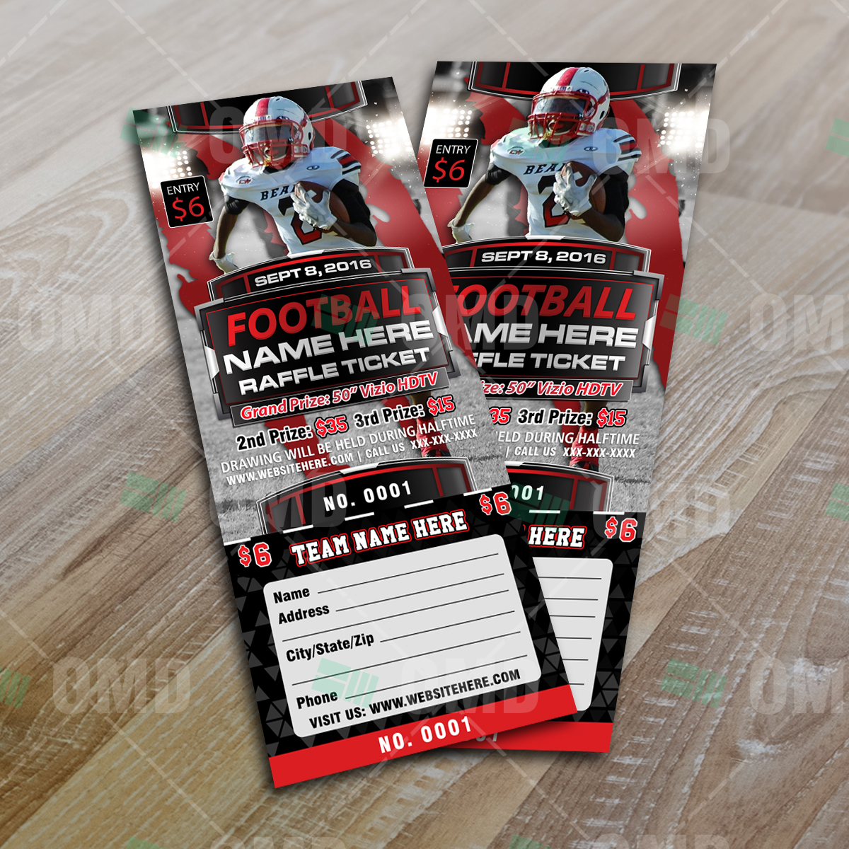 Sports Invites Halftime Football Raffle Ticket Template – Sports Ticket Template
