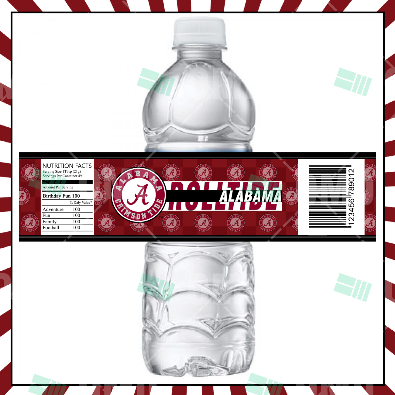 Alabama Crimsontide Bottle Labels – Sports Invites
