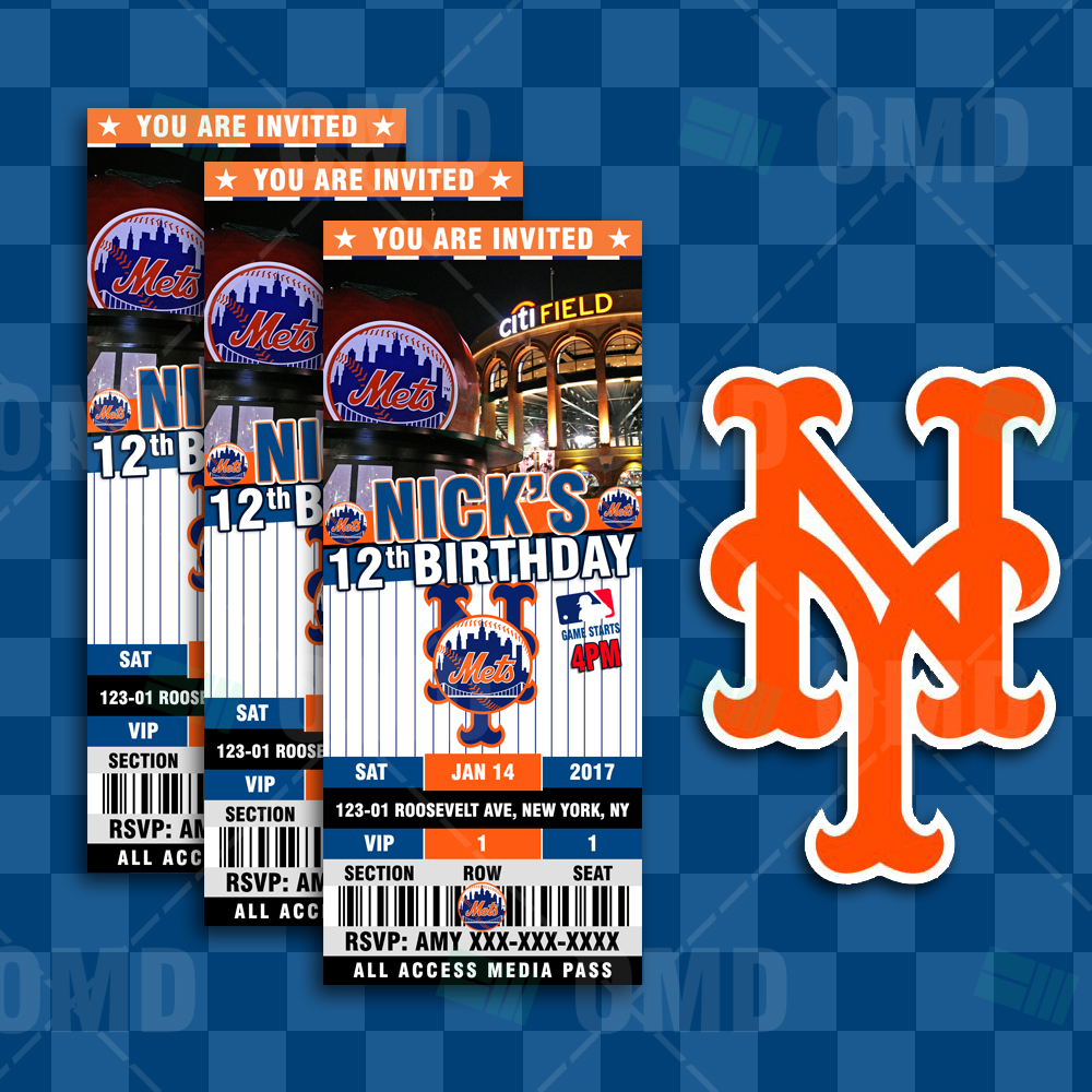 Sports Invites New York Mets Ticket Style Sports Party Invitations – New York Party Invitations