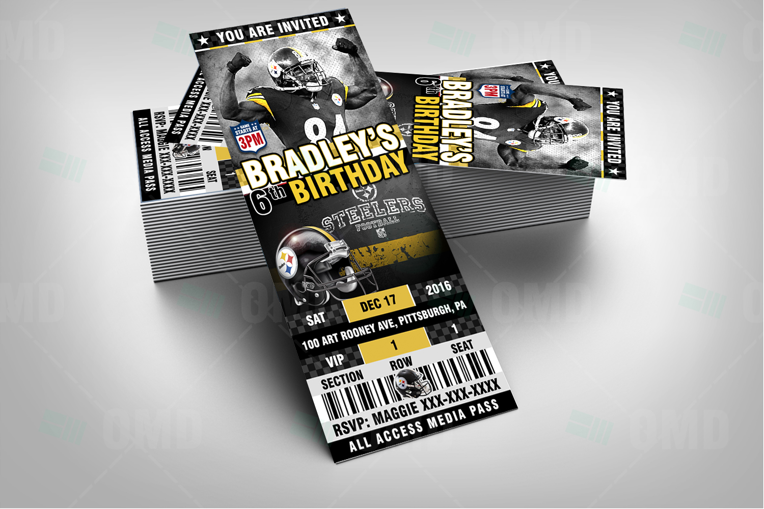 Pittsburgh Steelers Ticket Style Sports Party Invitations