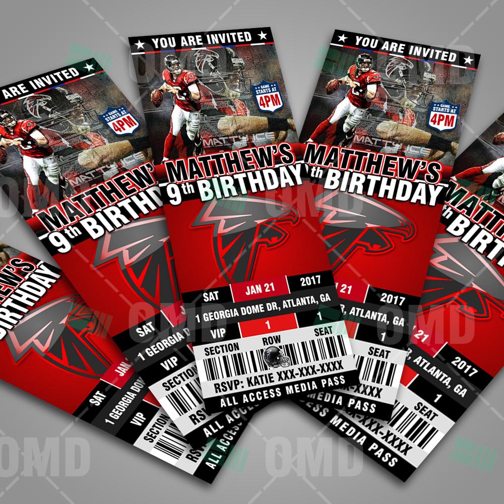 Atlanta Falcons Ticket Style Sports Party Invitations – Sports Invites