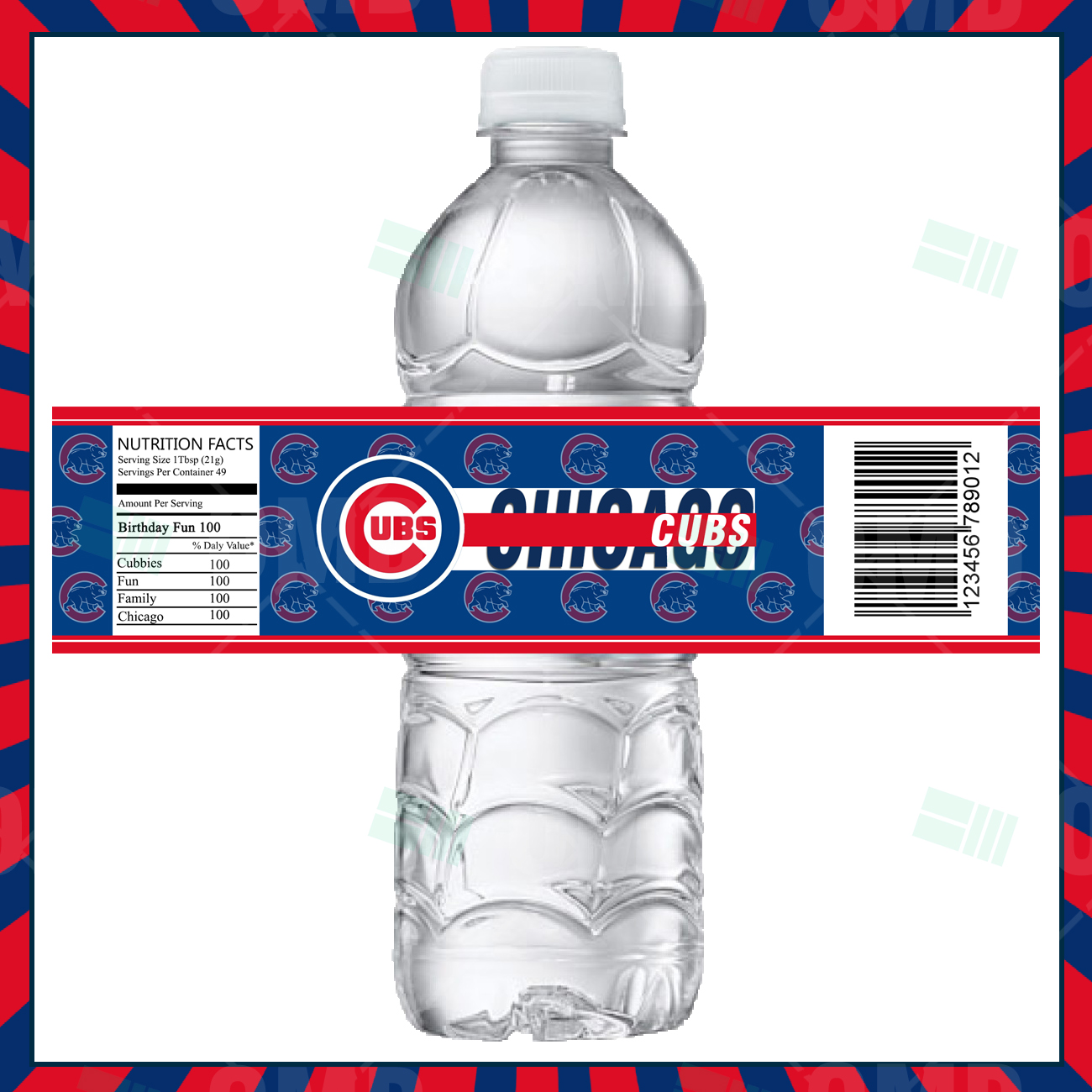 Sports Invites - Chicago Cubs Baseball Bottle Labels