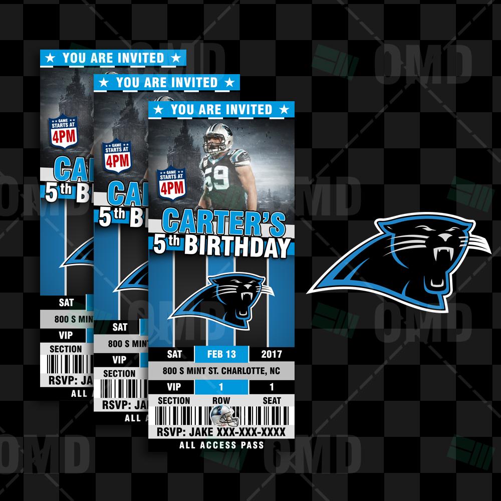 Sports Invites - Carolina Panthers Football Ticket Style ...