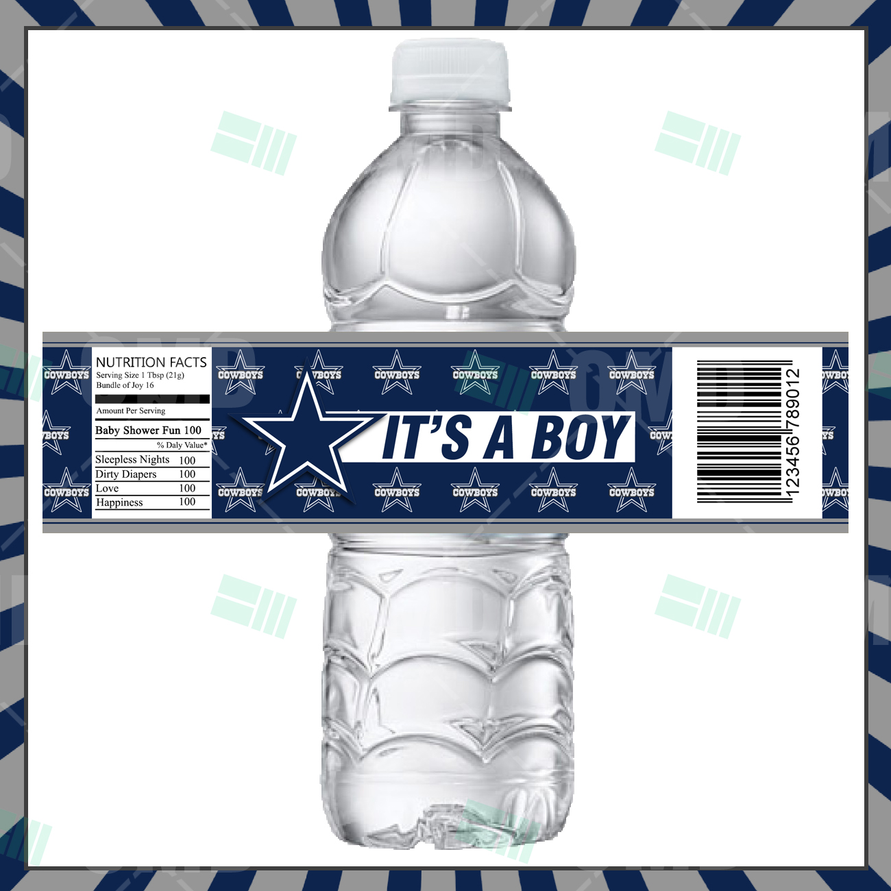 sports invites  dallas cowboys custom bottle labels, Baby shower