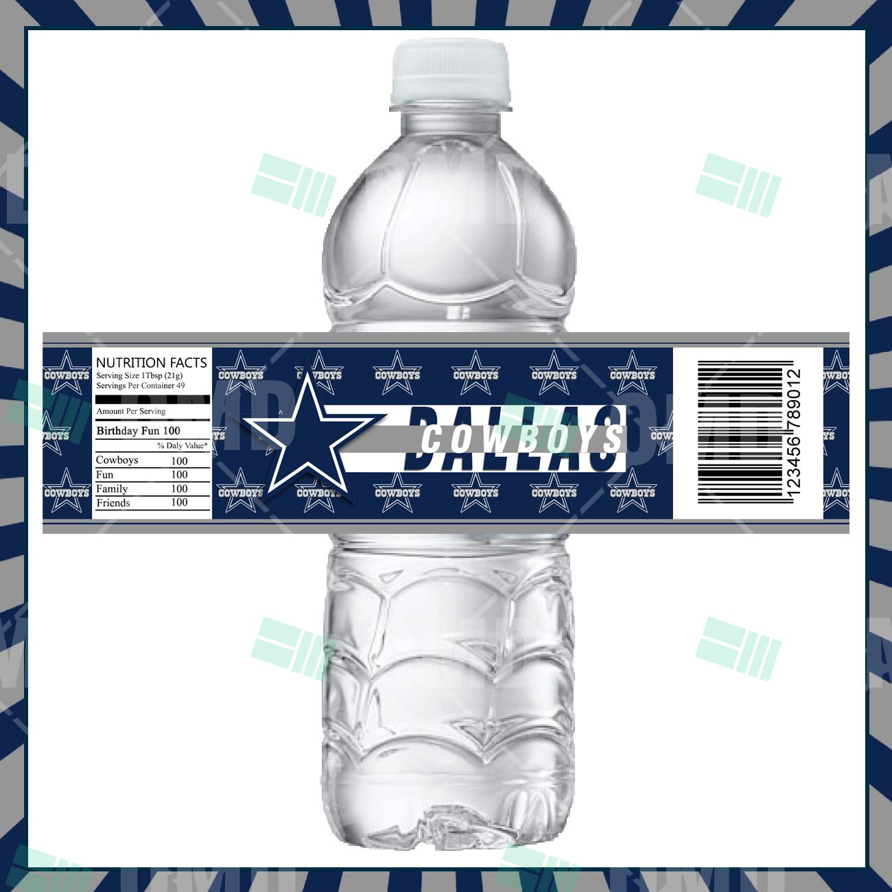 Dallas Cowboys Custom Bottle Labels Sports Invites