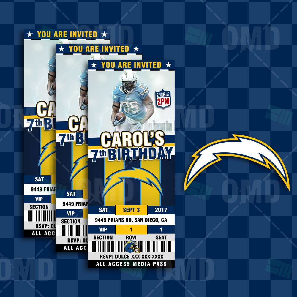 San Diego Chargers Home Schedule: San Diego Chargers Ticket Style Sports Party Invitations