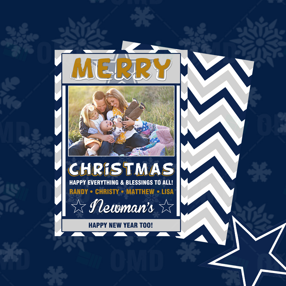 "Sports Invites - Dallas Cowboys ""Merry Christmas"" Cards"