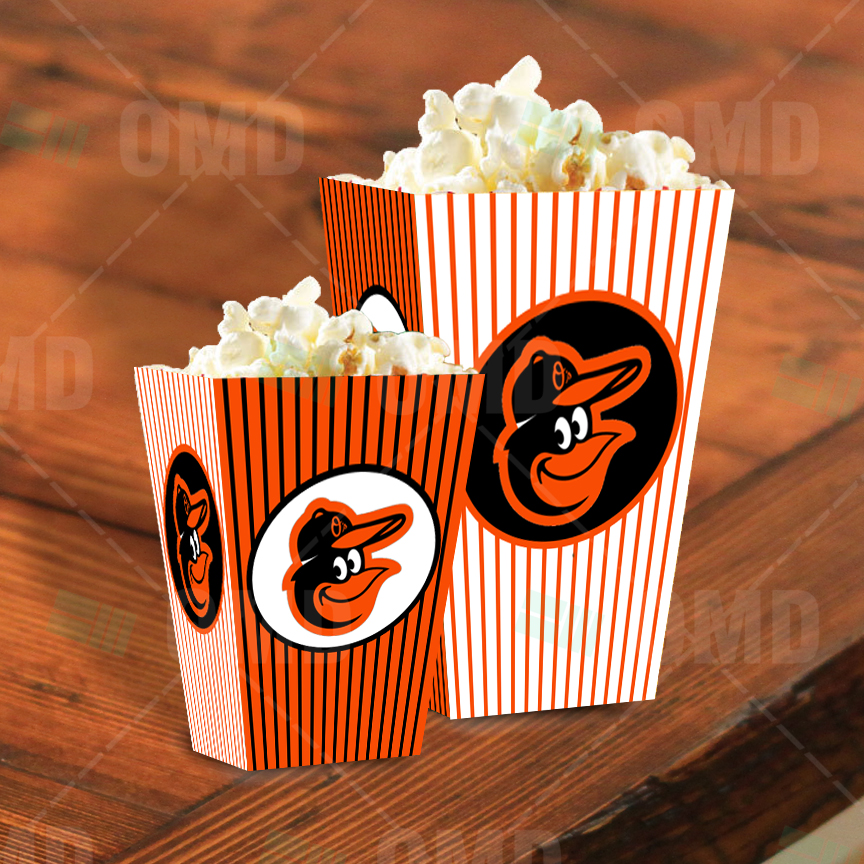 Sports Invites Baltimore Orioles Sports Party Popcorn Boxes