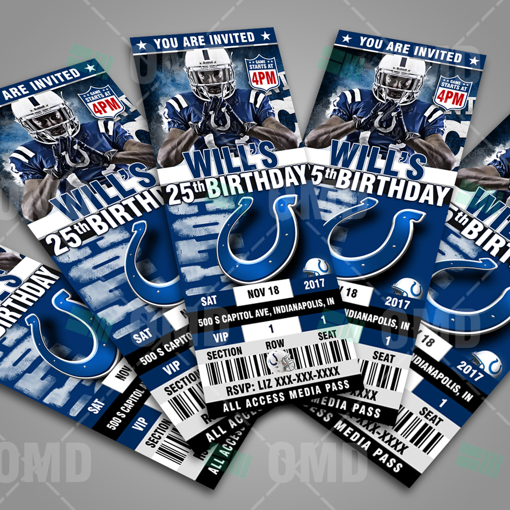 Wedding Invitations Indianapolis: Indianapolis Colts Ticket Style Sports Party Invites