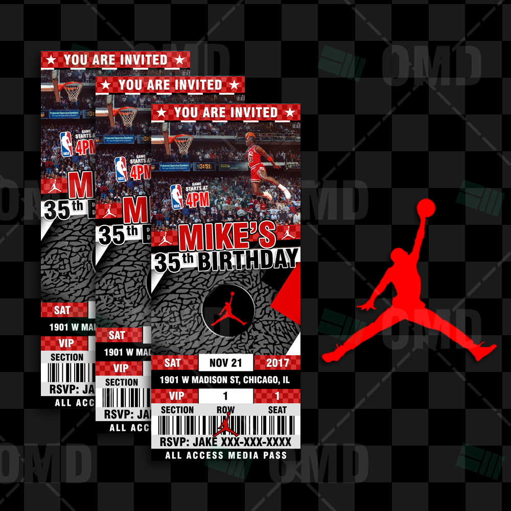 Sports Invites Air Jordan Sports Ticket Style Party Invites