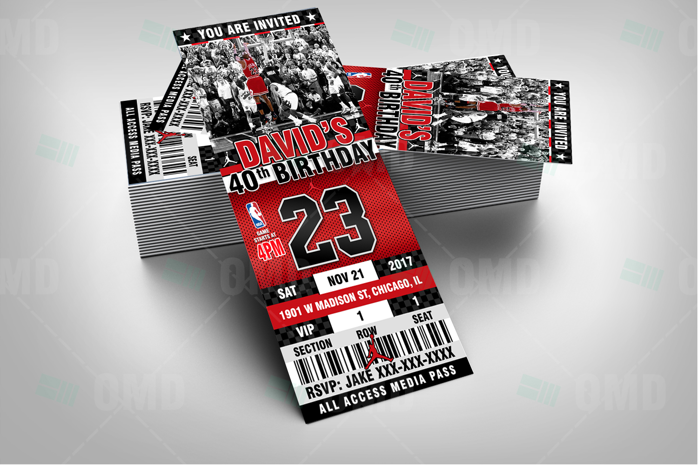 Air Jordan Ticket Style Sports Party Invites – Sports Invites