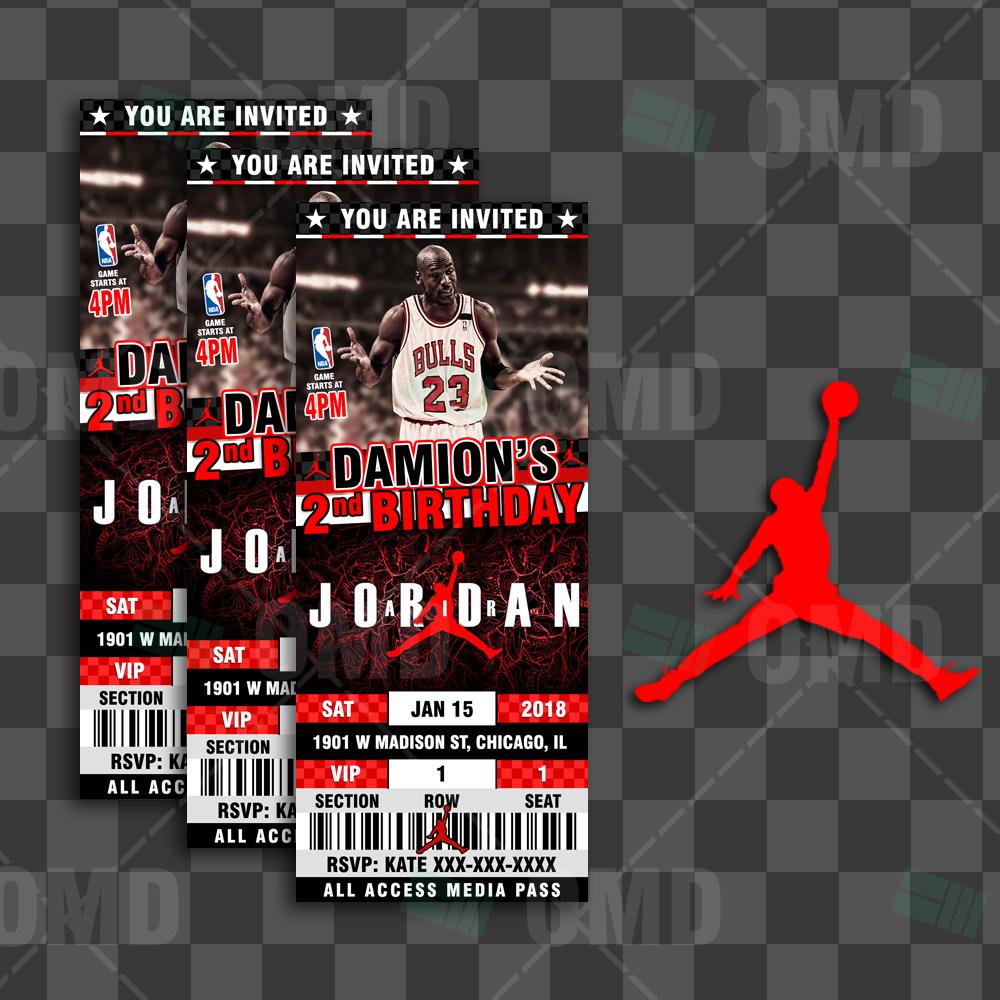 air jordan birthday ticket style sports party invites sports invites. Black Bedroom Furniture Sets. Home Design Ideas