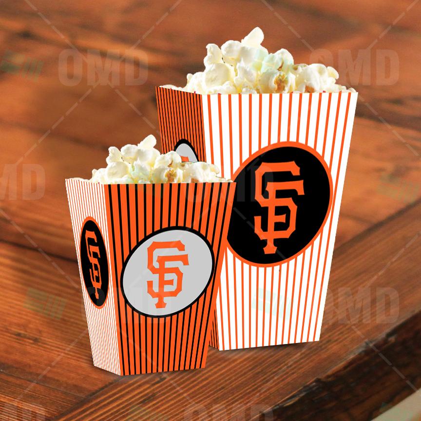 Sports Invites - San Francisco Giants Sports Party Popcorn Boxes