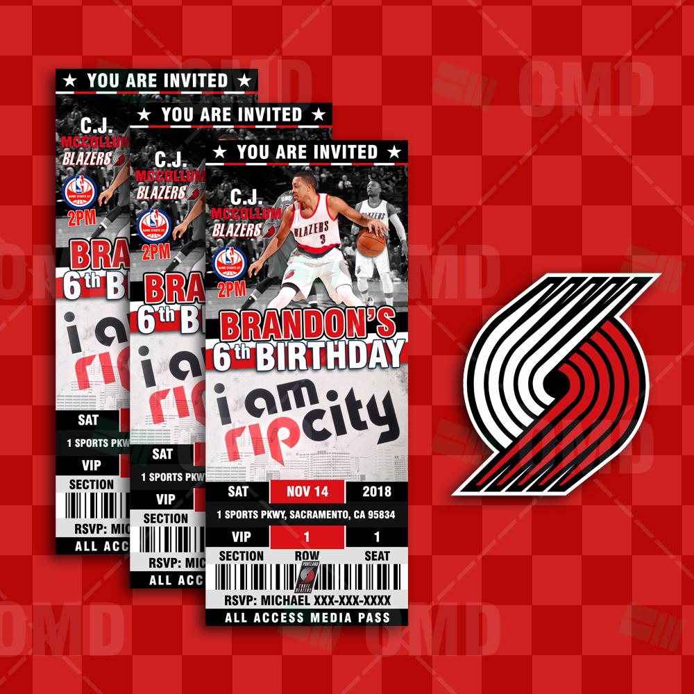 Portland Trail Blazers Full Schedule: Portland Trail Blazers Sports Ticket Style Party Invites