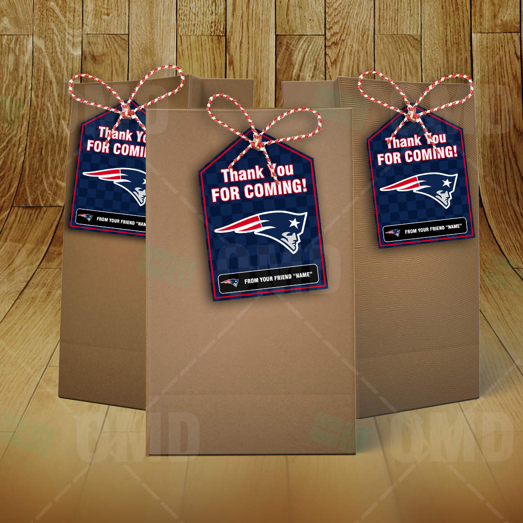 What Are The Patriots Colors >> New England Patriots Bag Tags – Lollie Tags Party Favors – Sports Invites