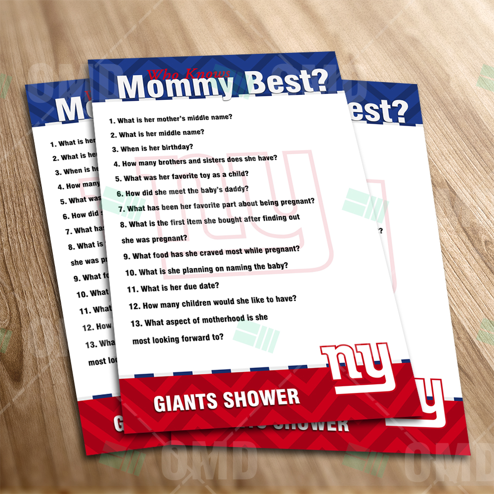 invites new york giants who knows mommy best baby shower game