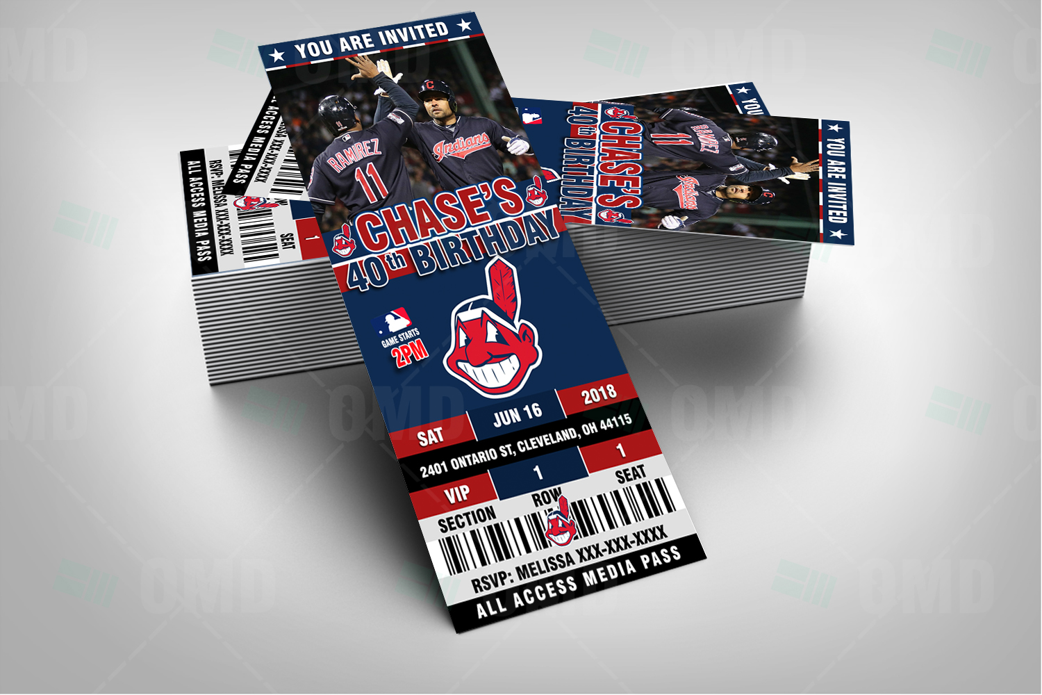 cleveland indians ticket style sports party invitations
