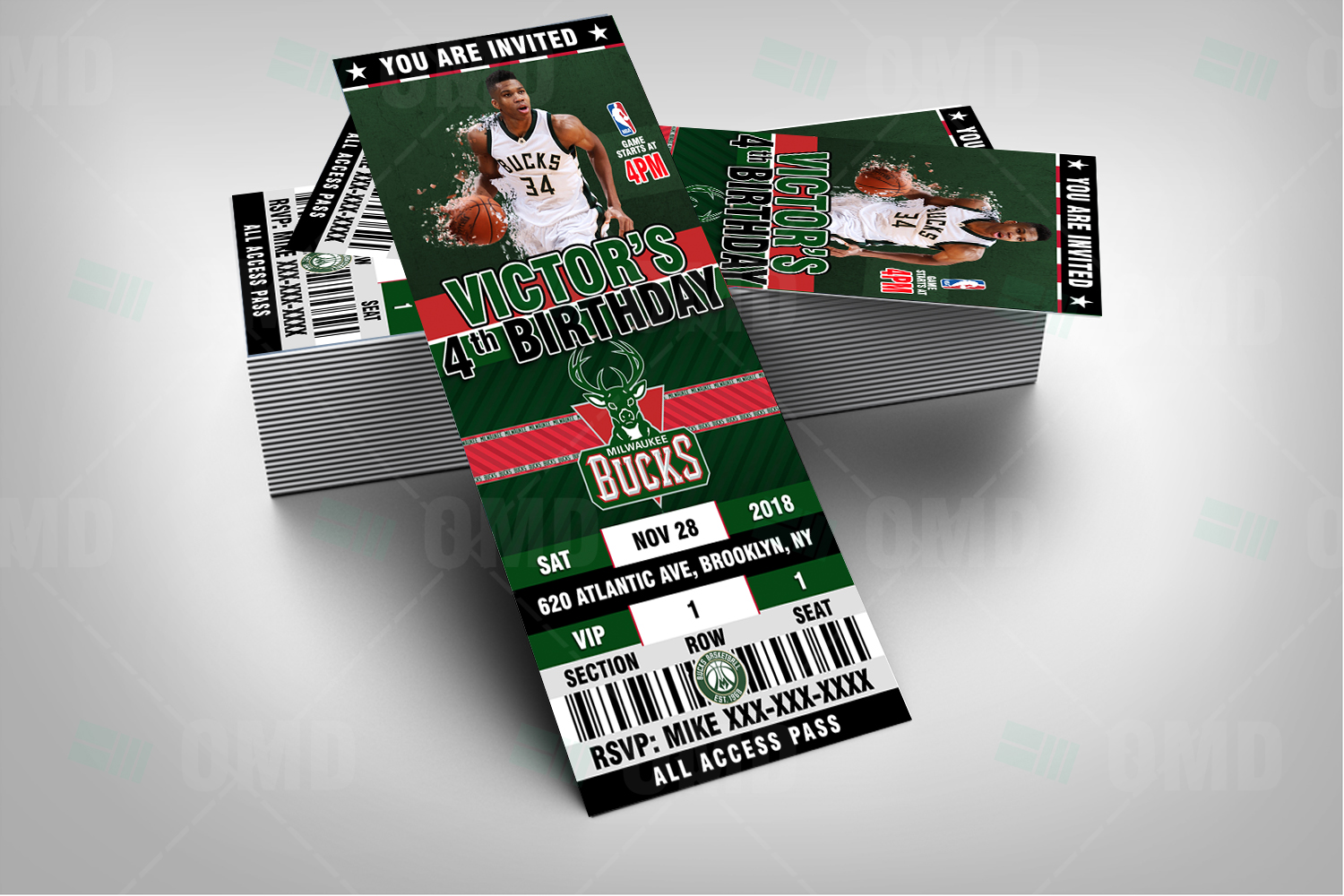 Sports Invites - Milwaukee Bucks Ticket Style Sports Party Invitations