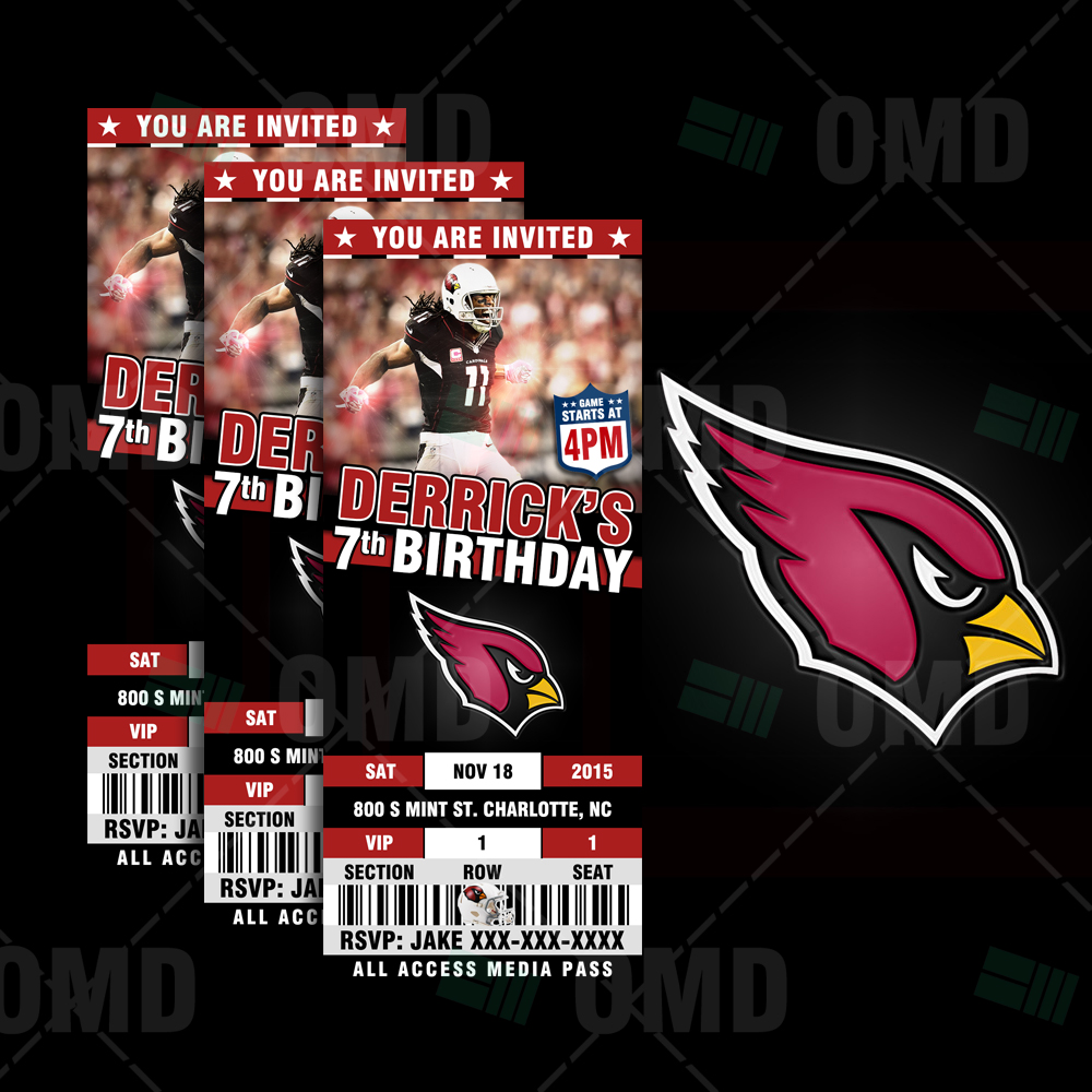 Cheap Arizona Cardinals Ticket Style Sports Party Invitations  for cheap