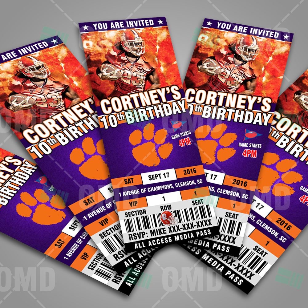 clemson tigers ticket style sports party invitations