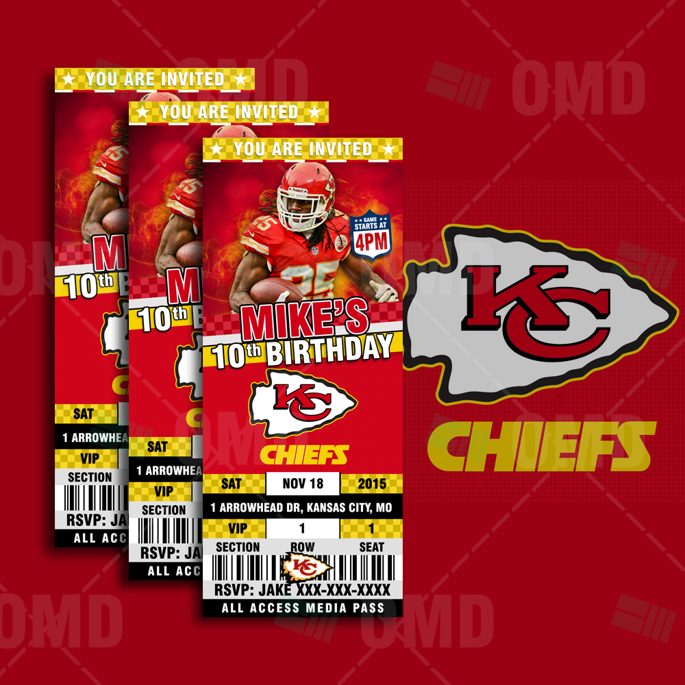 Kansas City Chiefs Ticket Style Sports Party Invitations