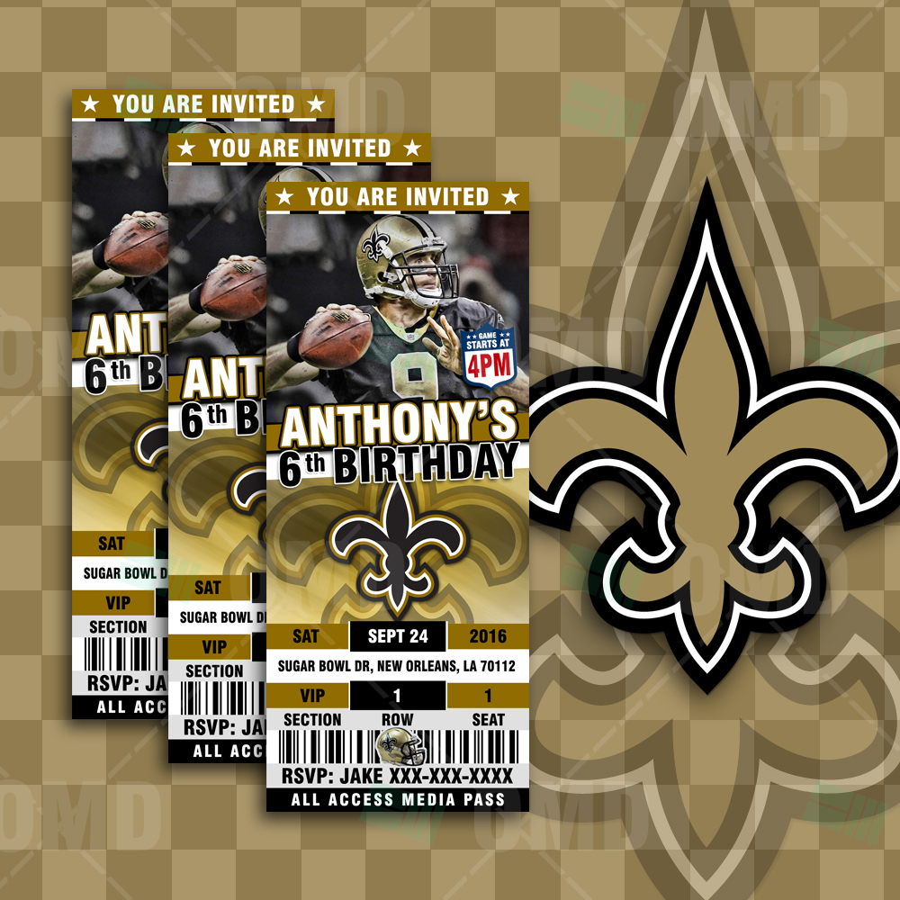 New Orleans Saints Ticket Style Sports Party Invitations