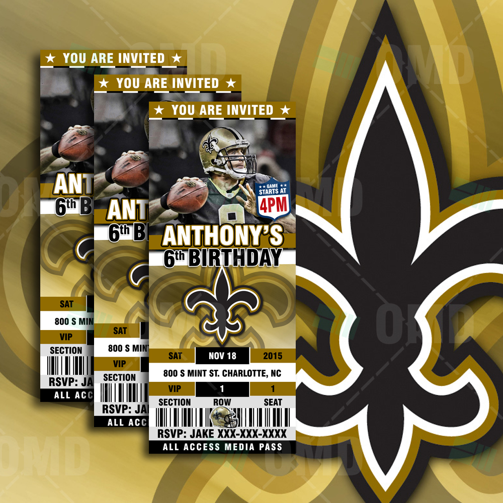 New Orleans Saints Ultimate Party Package Sports Invites