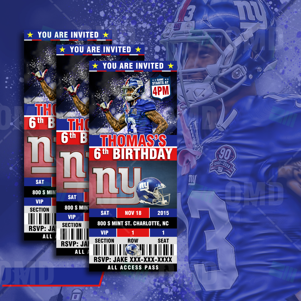 big sale c1535 751a4 New York Giants Ticket Style Sports Party Invitations ...