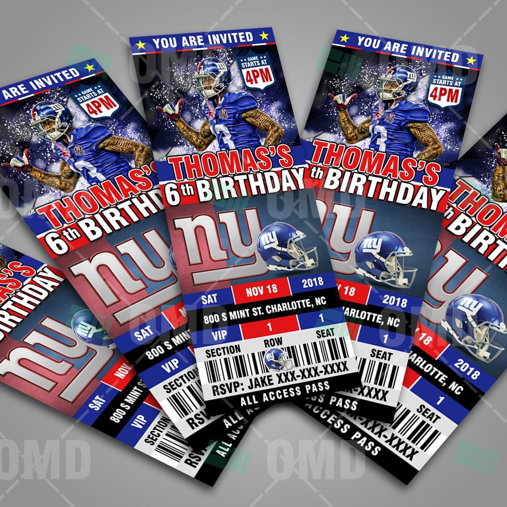 big sale b546e bf5c8 New York Giants Ticket Style Sports Party Invitations ...