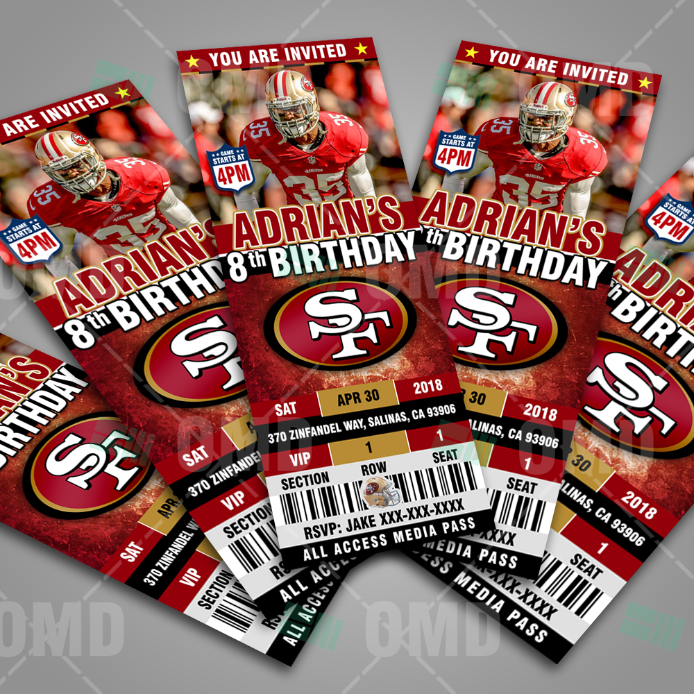 San Francisco 49ers Ticket Style Sports Party Invitations