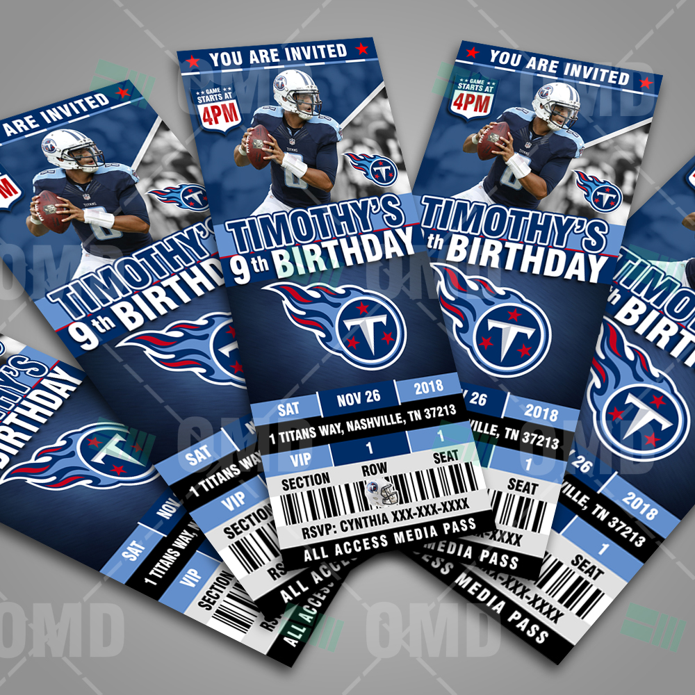 Cheap Tennessee Titans Football Ticket Style Sports Party Invitations  supplier