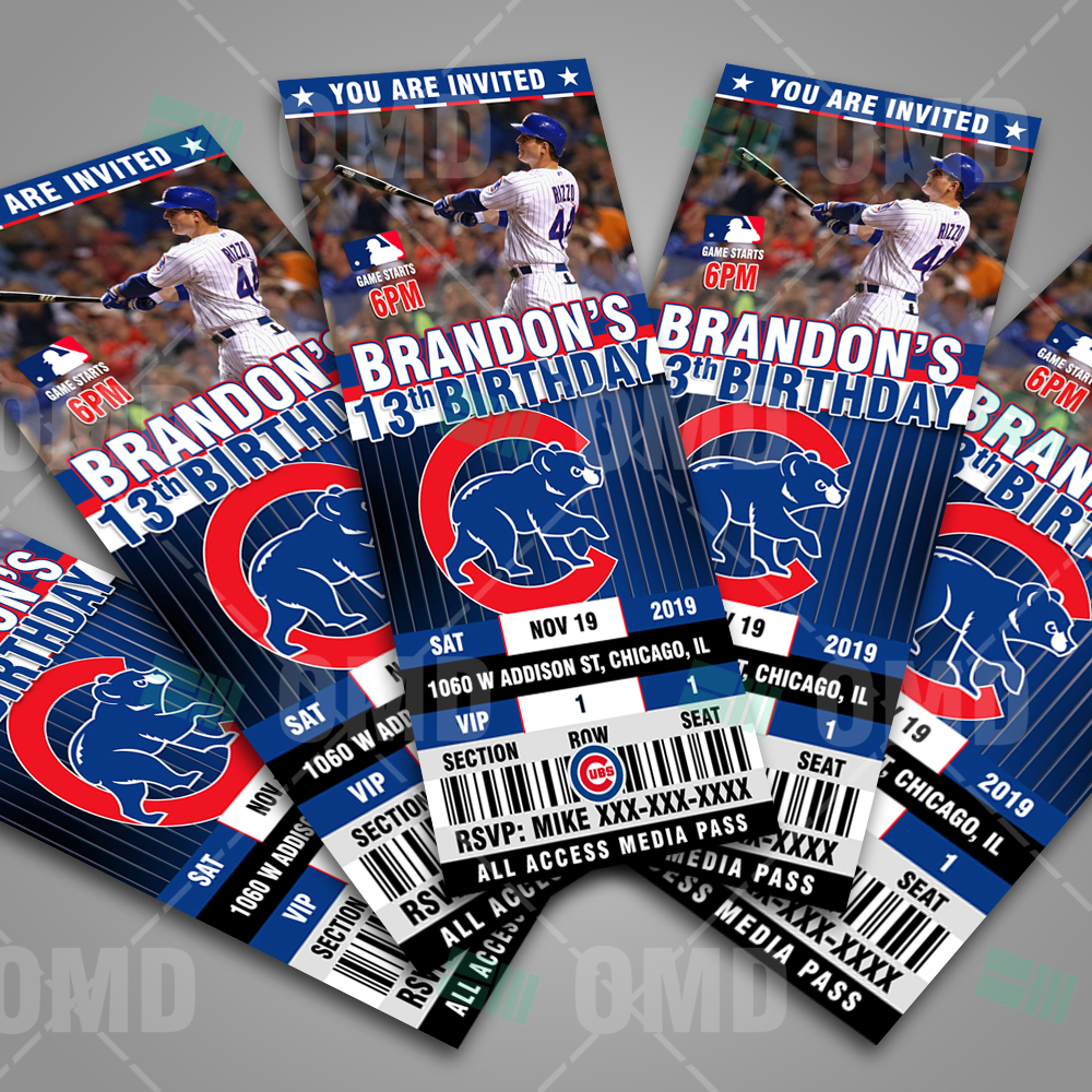 chicago cubs ticket style sports party invitations sports invites