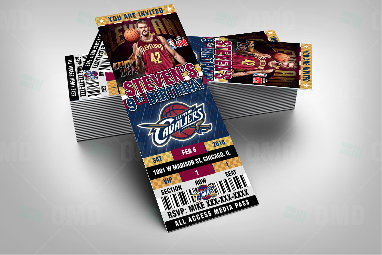 Wedding Invitations Cleveland: 2.5×6″ Cavaliers Sports Party Cleveland Invitations