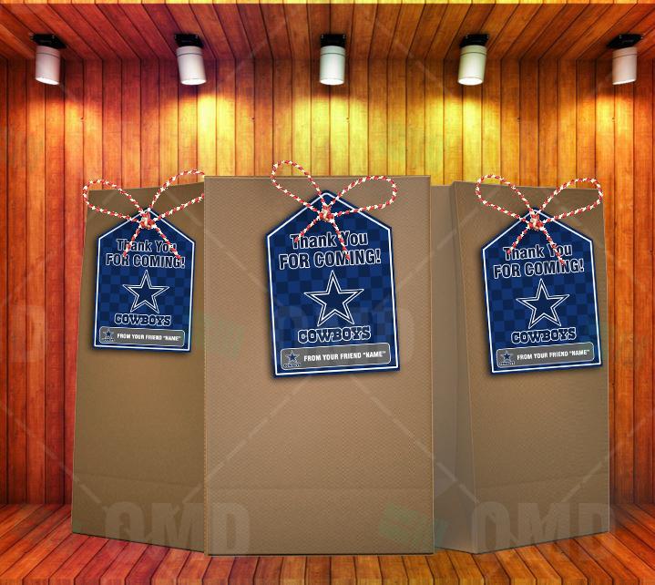 Dallas Cowboys Bag Tags – Lollie Tags Party Favors – Sports Invites d8556b536