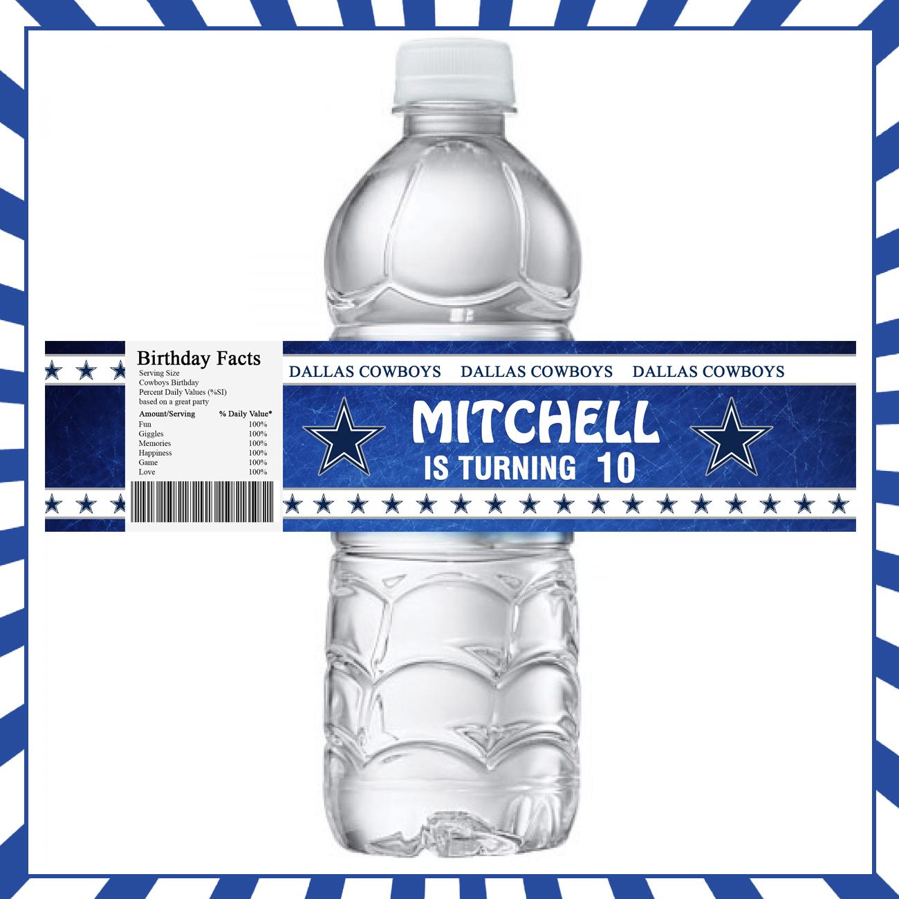 Dallas Cowboys Bottle Labels Sports Invites