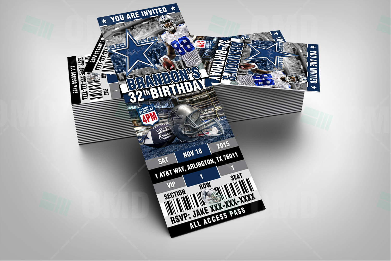 Custom 2x6 Dallas Cowboys Ticket Birthday Party Invitation Football Dallas Cowboys Birthday Cowboy Invitations Birthday Football Birthday