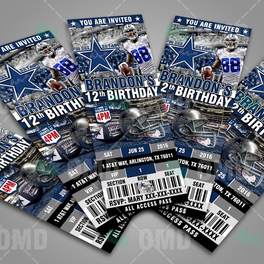 Dallas Cowboys Ticket Style Sports Party Invitations Sports Invites