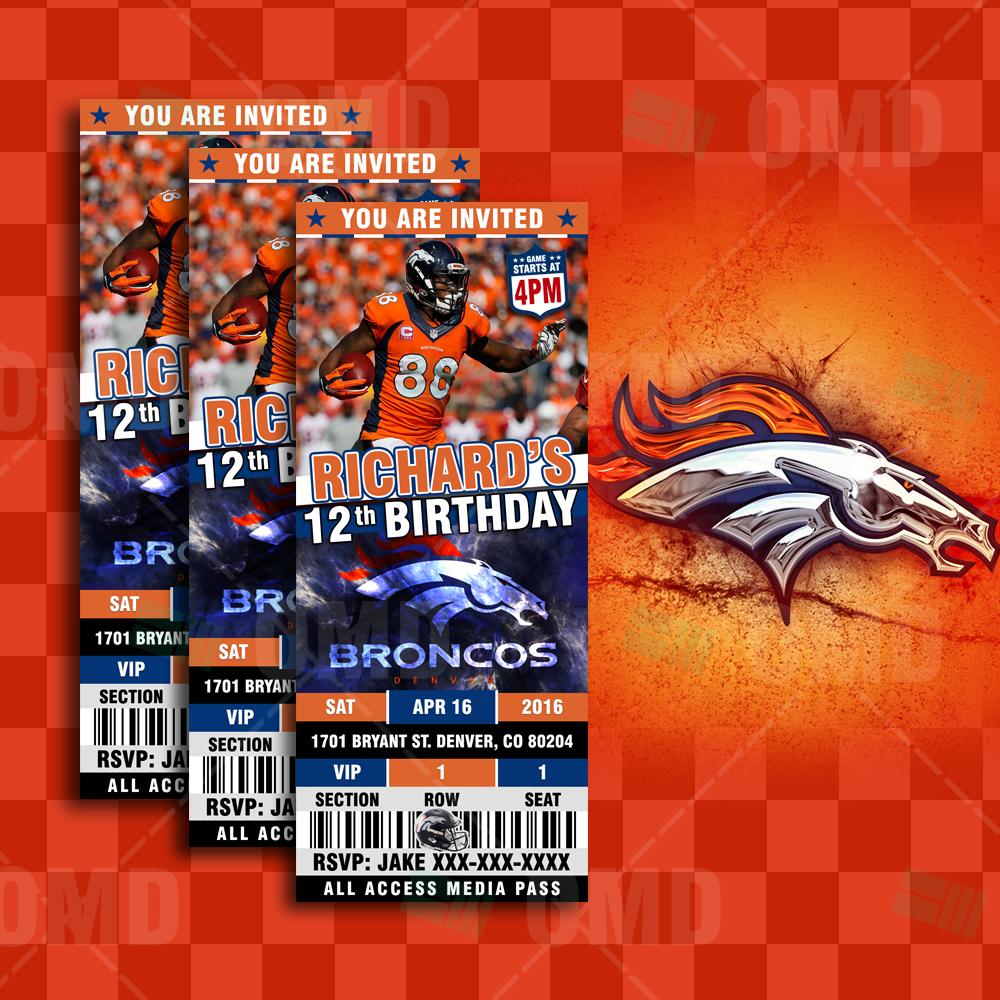 Denver Broncos Sports Party Invitations 2 5 6 Sports Invites