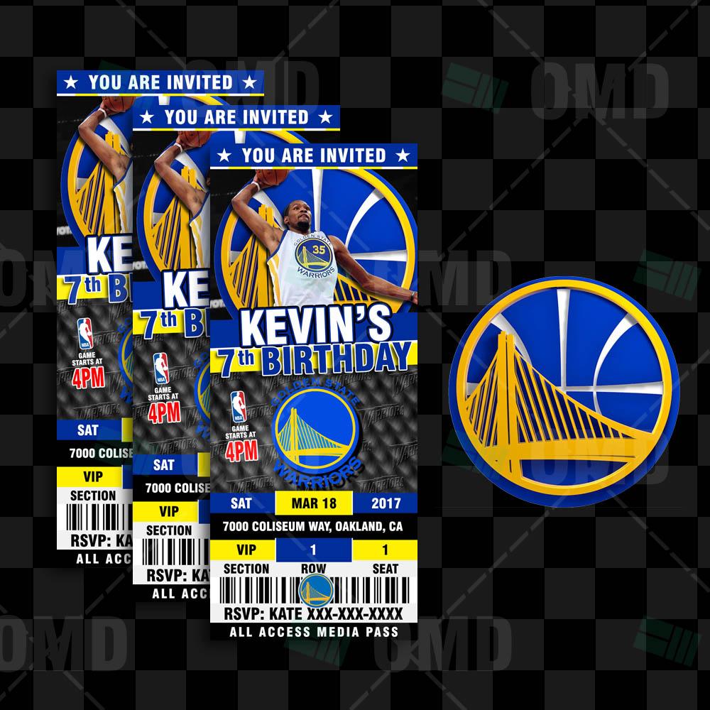 Golden State Warriors: Golden State Warriors Basketball Ticket Style Invite