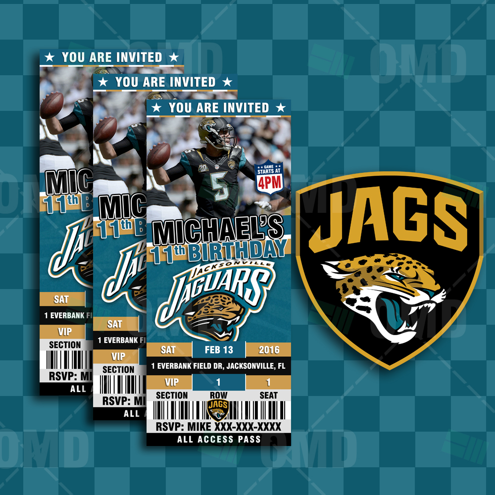 53791a66 2.5×6″ – Jacksonville Jaguars Football Ticket Style Sports Party ...