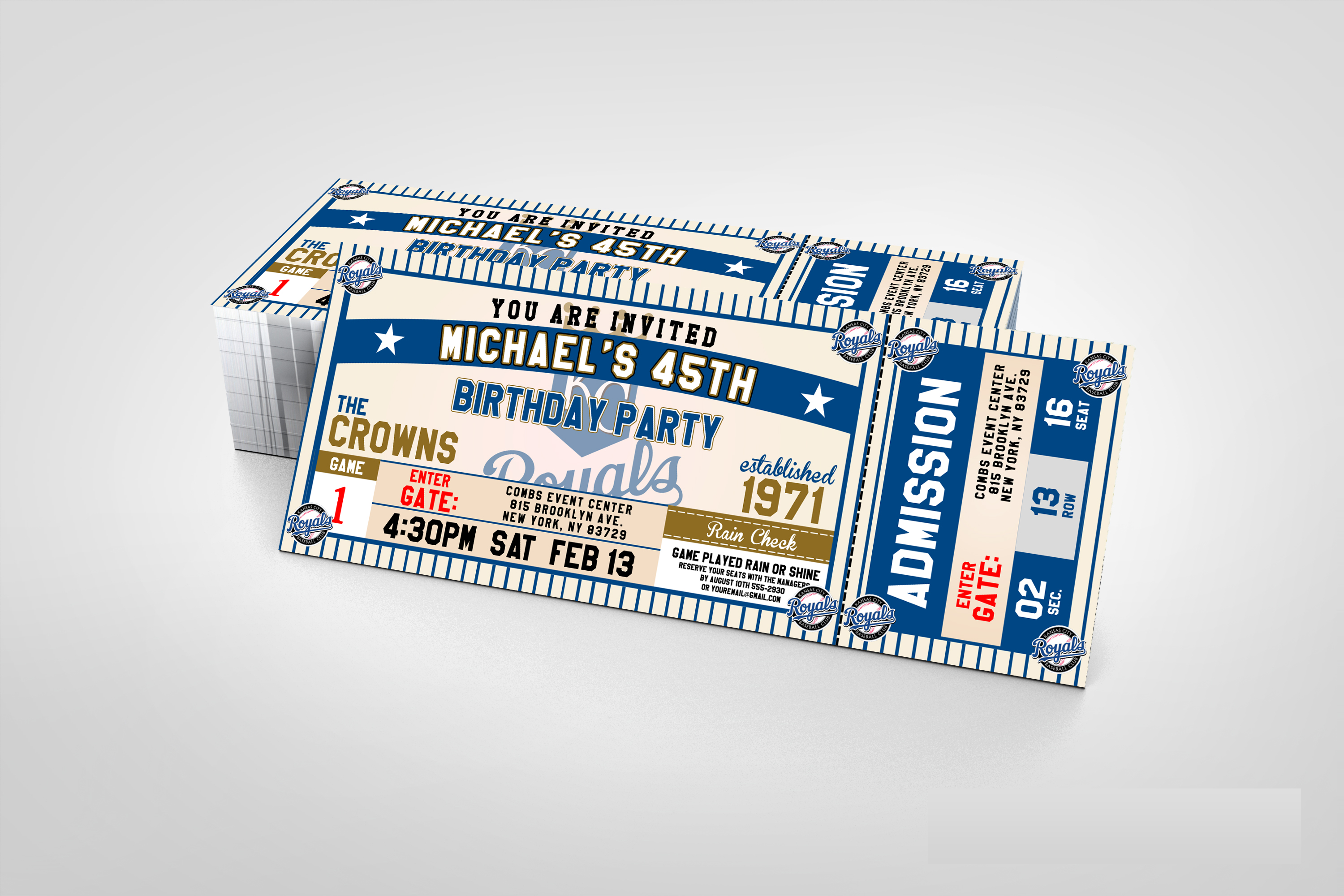 City Royals Clic Ticket Sports Party Invitations