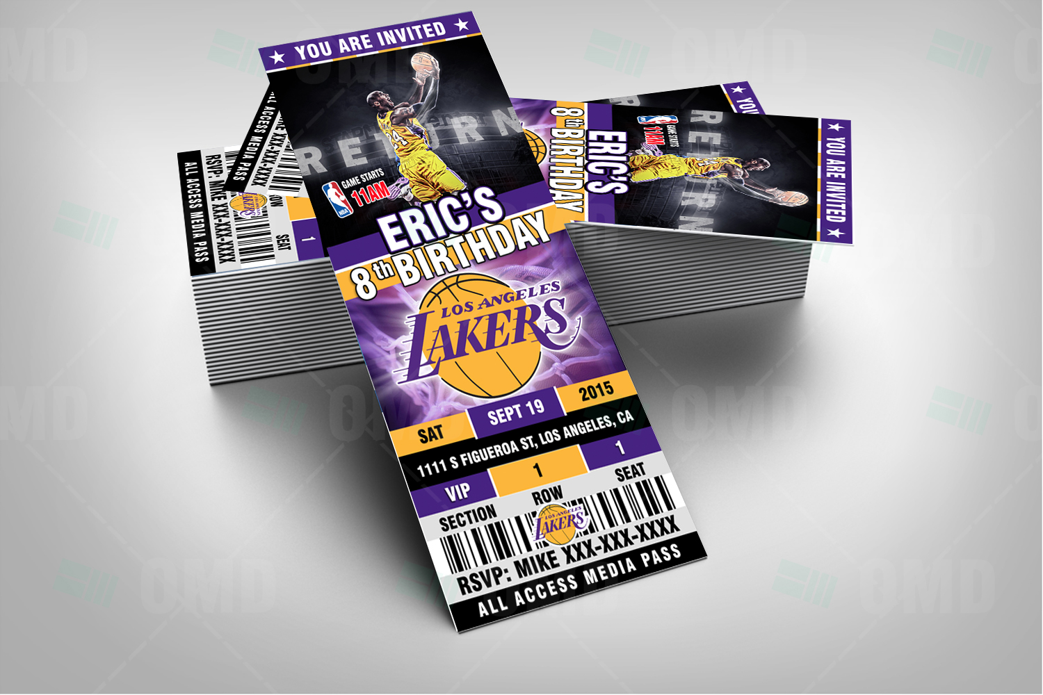28bd92706 2.5×6″ Los Angeles Lakers Sports Ticket Style Party Invites – Sports ...