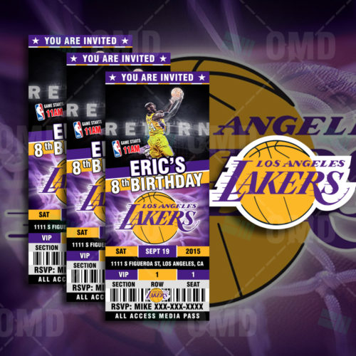 Los Angeles Lakers Custom Candy Bar Wrappers Sports Invites