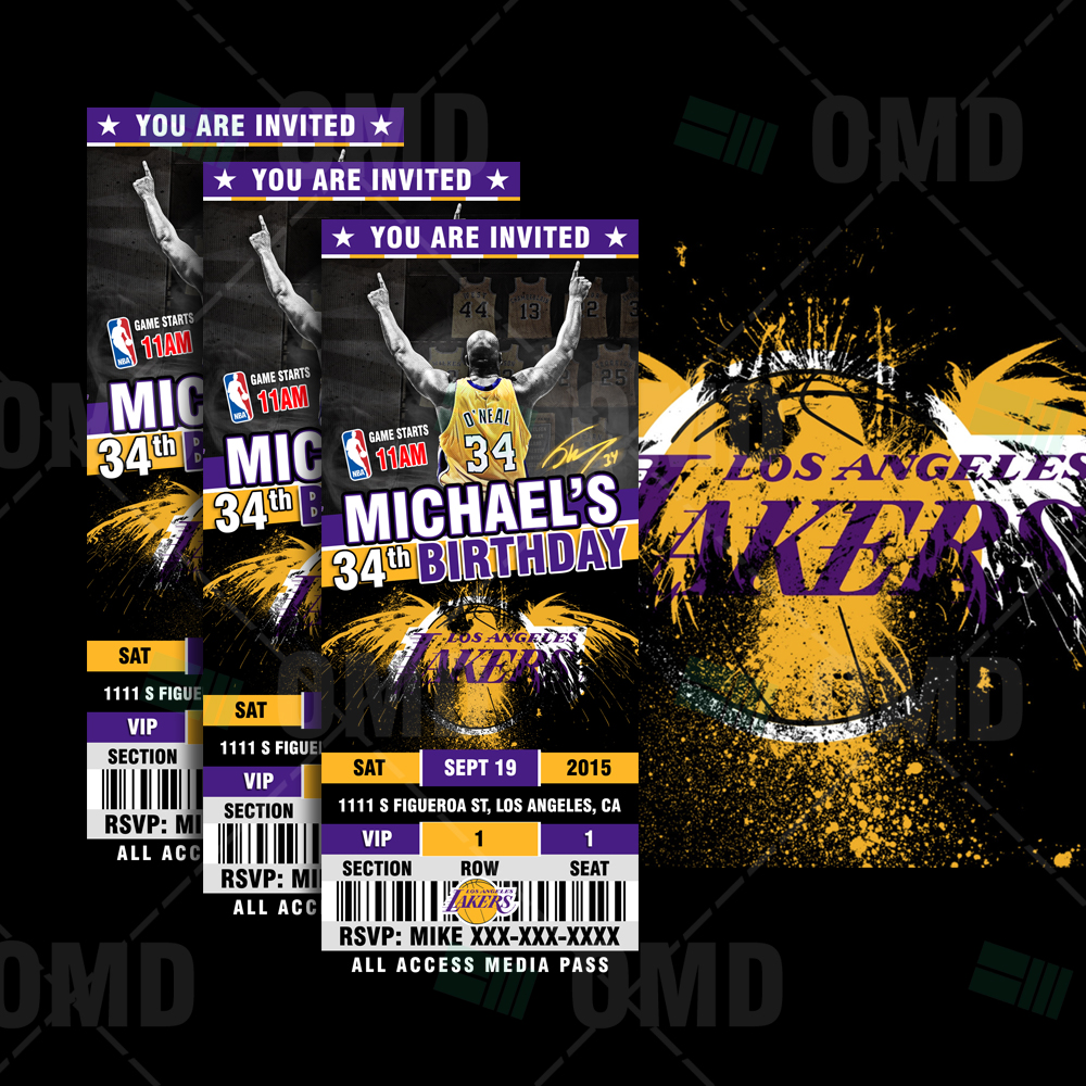 270477f35 Los Angeles Lakers Sports Ticket Style Party Invites – 2.5×6 ...