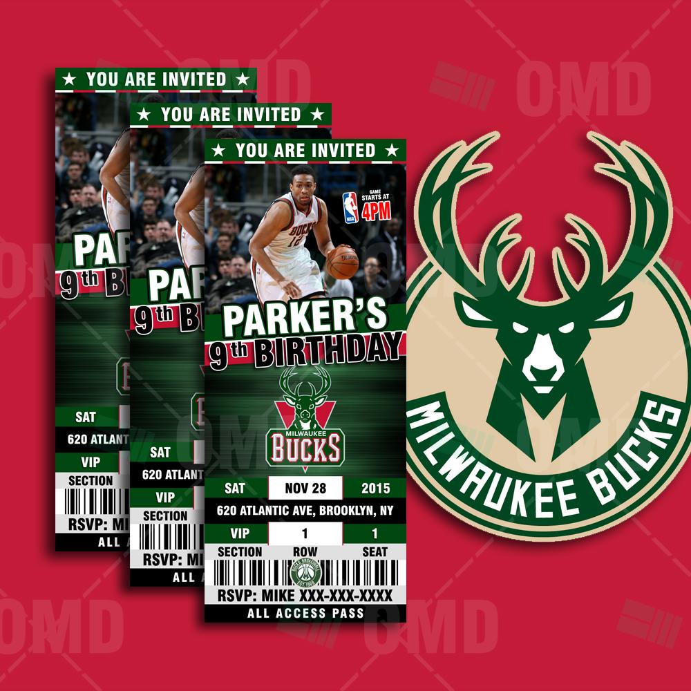 2.5×6 Milwaukee Bucks Sports Ticket Style Party Invite – Sports Invites