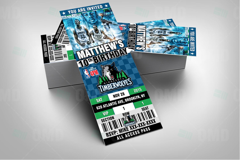 Minnesota Timberwolves Sports Ticket Style Party Invite Sports