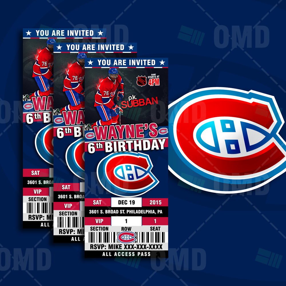 76332dd34bd 2.5×6 Montreal Canadiens Sports Party Invitations – Sports Invites