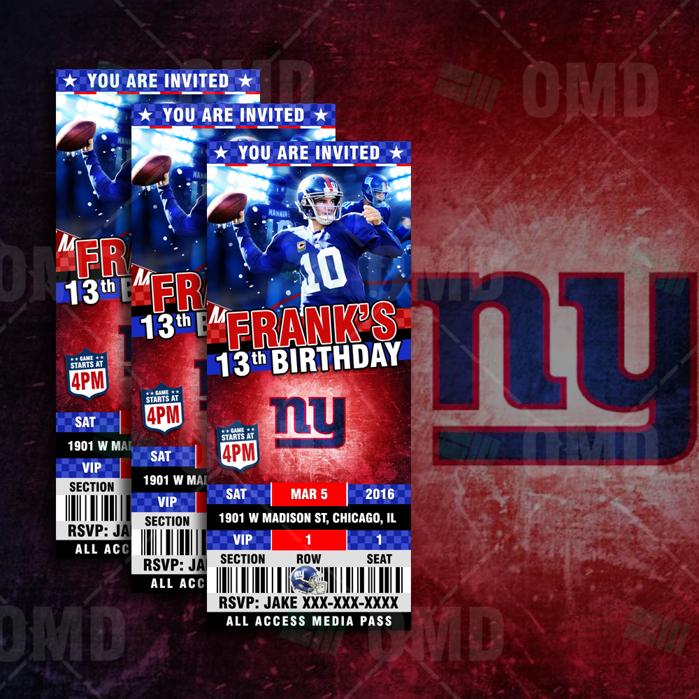 5f4501b70 ... Invitations New York Giants Ticket Style Sports Party Invitations.   
